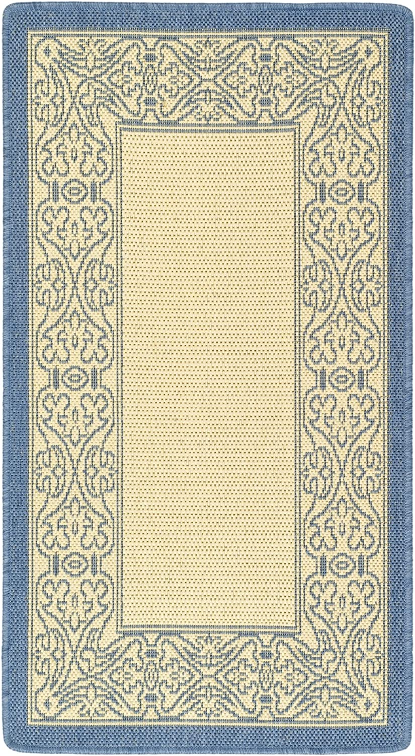 Safavieh Courtyard Collection CY20993101 Natural and bluee Indoor Outdoor Area Rug, 2 feet by 3 feet 7 inches (2' x 3'7 )