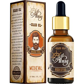 Captain Thug Medieval Beard Oil Conditioner – Ultra Premium Ayurveda – 9 Essential Oils – Softens, Smooths & Strengthens Beard Growth – Grooming Beard and Mustache Nourishment Treatment – 1 fl. oz.