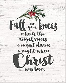 Fall on Your Knees O holy Night Rustic Wood Style Wall Sign 12x15