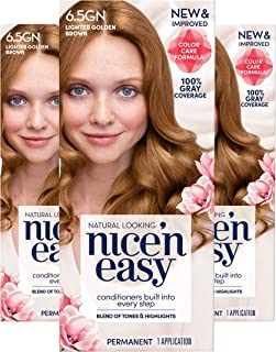 Clairol Nice'n Easy Permanent Hair Color, 6.5GN Lighter Golden Brown, 3 Count