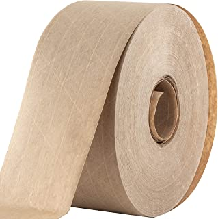 Ultra Durable Water-Activated Tape for Secure Packing. 2.75 Inch, 450 Ft Brown Kraft Gum Tape Provides Heavy Duty Adhesive for Packaging and Shipping. Fiberglass Reinforced for Extra Strong Bond.