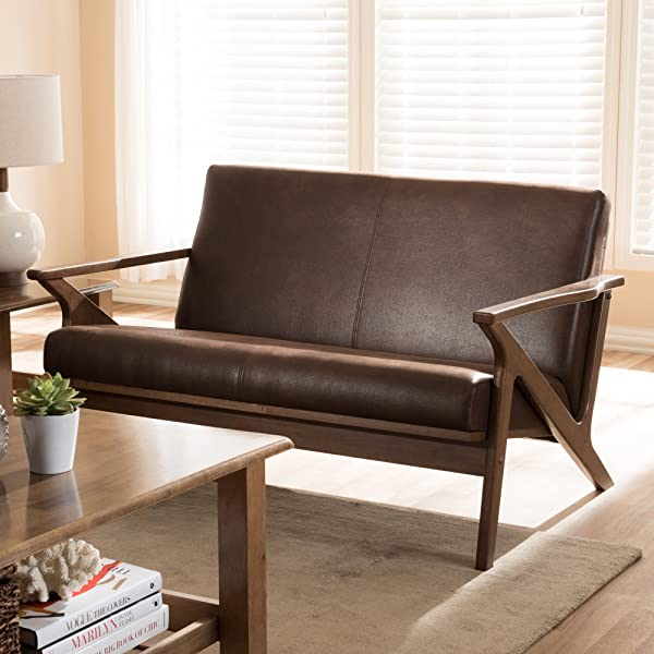 Baxton Studio 2 Seater Loveseat In Walnut And Dark Brown