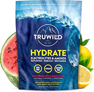 Hydrate Electrolyte + Amino Acids Drink Mix Powder | Clean Post Workout Recovery Supplement | Aquamin Ocean Minerals | Natural Lemon & Watermelon Juice | Vegan | Non GMO | No Added Sugar