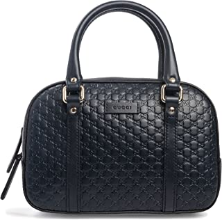 Gucci Micro Guccissima Soft Dollar Calf Maragaux Navy Blue Zip Top Bag 510289