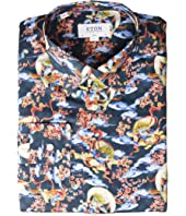Eton - Slim Fit Japenese God of Wind Print Button Down Shirt