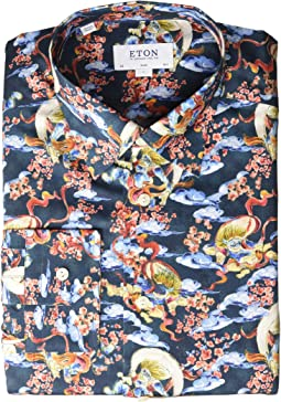 Slim Fit Japenese God of Wind Print Button Down Shirt