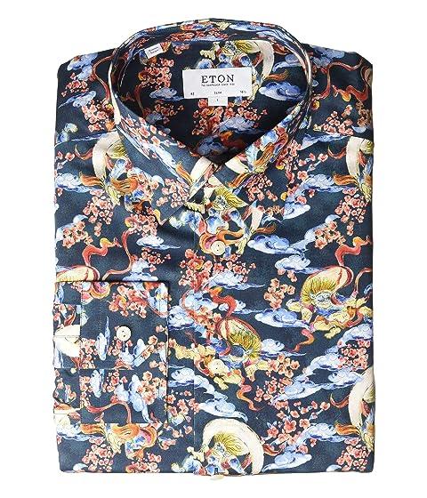 Eton Slim Fit Japenese God of Wind Print Button Down Shirt