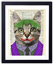 The Joker Cat, Superhero Kids Bedroom Wall Decor, Vintage Wall Art Upcycled Dictionary Art Print Poster For Kids Room Decor 8x10 inches, Unframed