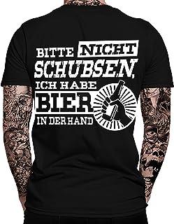 mycultshirt Bitte Nicht schubsen, ich Habe Bier in der Hand T-Shirt | Sprüche | Lustig | Fun Shirt | Nerd | Spaß Tshirt | Festival | Alkohol | Statement