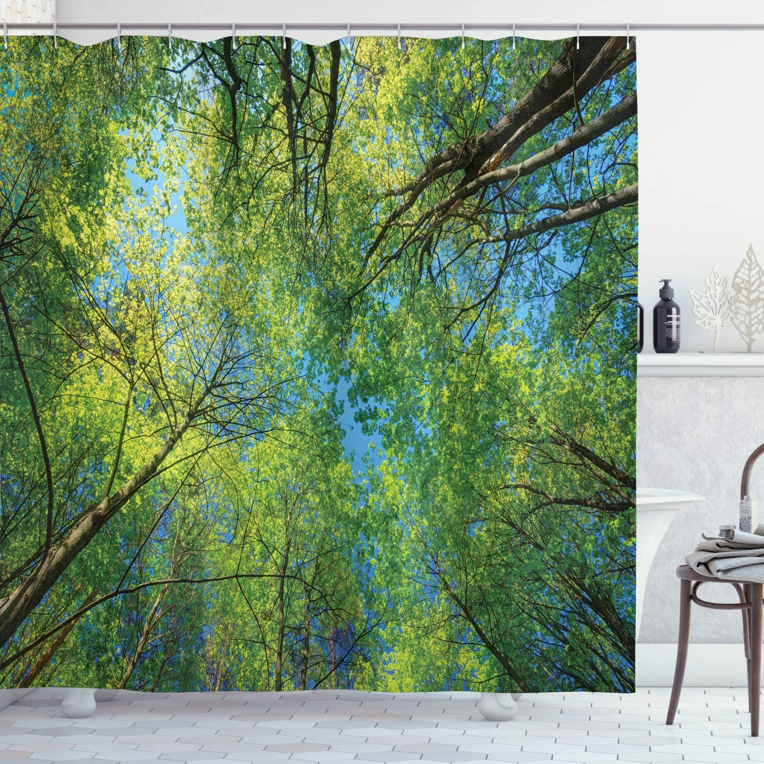 Max 81% OFF Kansas City Mall Ambesonne Forest Shower Curtain Summer C Branches Tranquil Lime