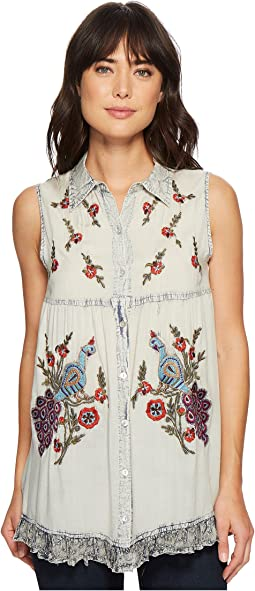Angeline Button Front Embroidered Top
