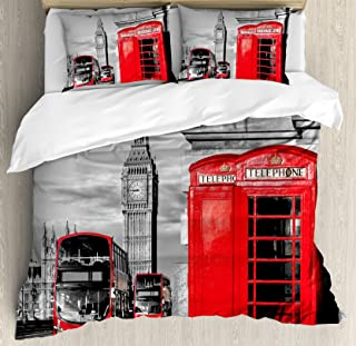 Ambesonne London Duvet Cover Set, London Telephone Booth in The Street Traditional Local Cultural England UK Retro, Decorative 3 Piece Bedding Set with 2 Pillow Shams, King Size, Red Grey