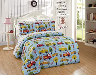5 Piece Twin Comforter Set for Boys/Kids School Bus Fire Truck Taxi Cab Yellow Red Trees Light Blue