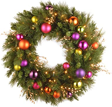 National Tree Company Pre-lit Artificial Christmas Wreath | Flocked with Mixed Decorations and Pre-strung LED Lights | Kaleid