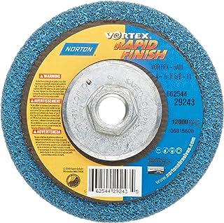Norton Bear-Tex Depressed Center Vortex Rapid Finish Unified Nonwoven Abrasive Wheel, Type 27, 4-1/2 Diameter, 5/8-11 Arbo...