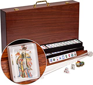 Yellow Mountain Imports American Mahjong Set, God of Fortune with 166 Tiles, 4 Pushers, 4 Racks, Accessories, and Wooden Case