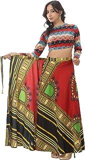 Handicraft-Palace Red Dashiki Printed Skirt Cotton Women's African Wear Regular Fit Wrap Around