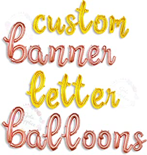 Cursive Script Letter Balloons - Custom Rose Gold/Gold Balloon Letters for Birthday/Baby Shower - Personalized a Phrase/Word/Banner/Name - 16 inch Alphabet Foil Mylar Air Filled Letter Balloons