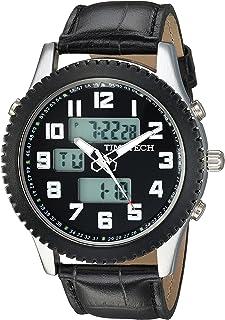 ساعة رياضية للرجال من تايم تيك انالوج بعقارب رقمية هيكل معدني أسود