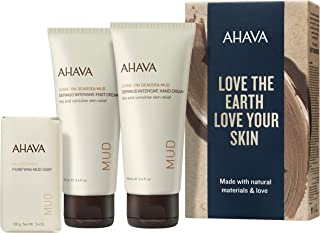 AHAVA Dead Sea Mud Intensive Hand and Foot Cream with Purifying Mud Soap Value Set