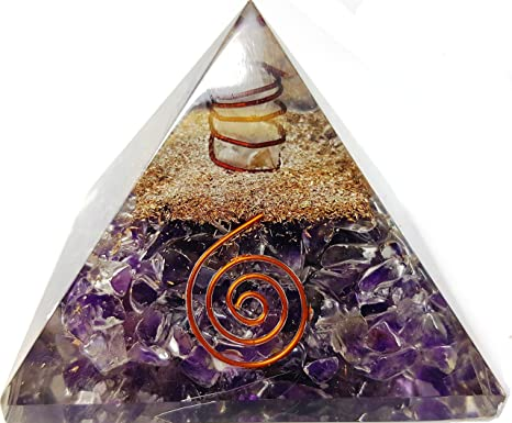 Amethyst Crystal Orgone Pyramid Action Energy Generator Tower Home Reiki Healing