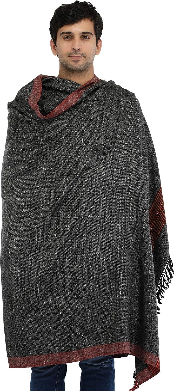 Exotic India Kullu Palla Men's Shawl with Kinnauri Woven Border - Color Charcoal