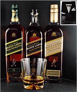 3 Flaschen Johnnie Walker 12, 15, 18 Jahre Scotch Whisky  Glas im Smoking