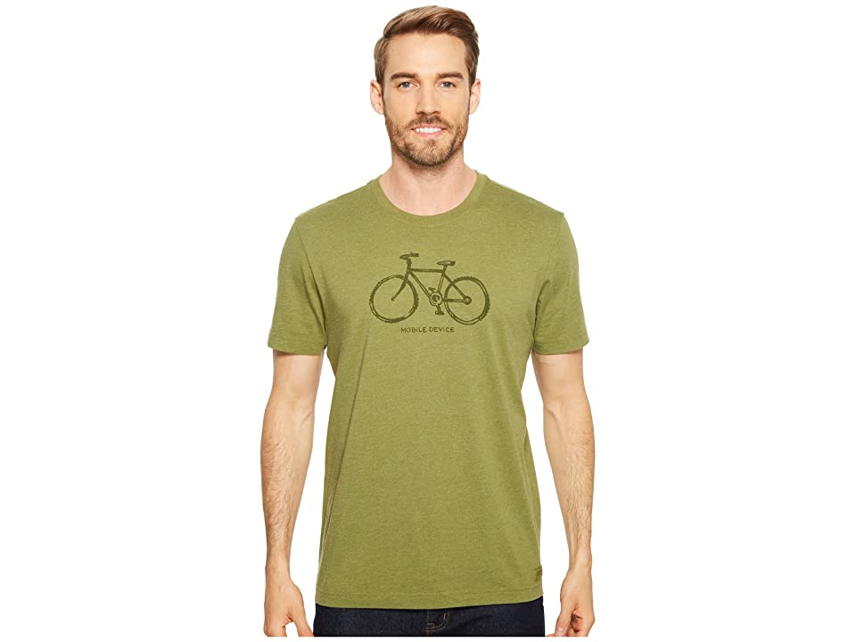 Life is Good Mobile Device Bike Crusher Tee (Heather Tree Green) Men fdc251942