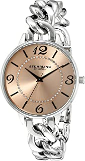 Stuhrling Original Women's Quartz Watch with Rose Gold Dial Analogue Display and Silver Stainless Steel Bracelet 588.03