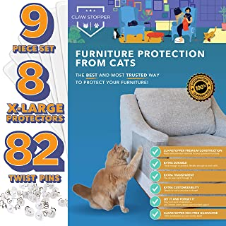 ClawStopper Furniture Protectors from Cats - 9 Pc Set - Cat Scratch Deterrent for Furniture - Cat Furniture Protector - Cat Scratching - Cat Couch Protector from Cats - Cat Scratch Furniture Protector