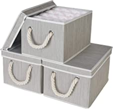 StorageWorks Decorative Storage Bins for shelves, Storage Baskets with Lids and Cotton Rope Handles, Mixing Of Gray, Brown...