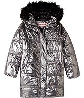 Glo Oversize Metallic Foil Puffer Jacket w/ Colored Faux Fur (Little Kids/Big Kids)