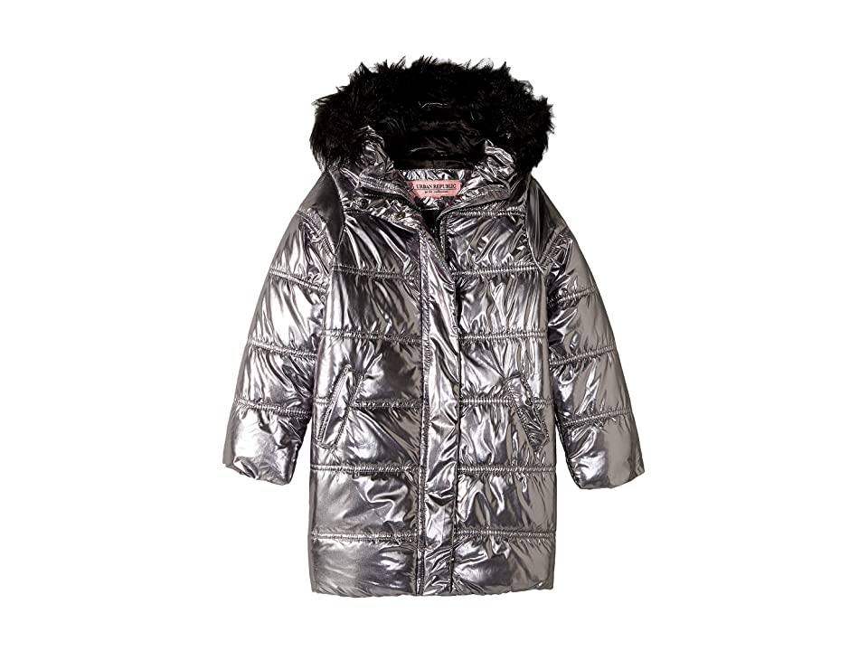 Urban Republic Kids Glo Oversize Metallic Foil Puffer Jacket w/ Colored Faux Fur (Little Kids/Big Kids) (Gunmetal) Girl