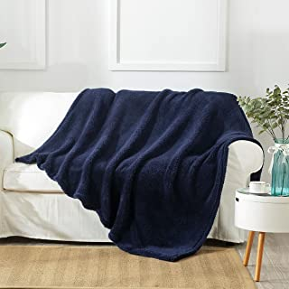 "Reafort Ultra Soft Single Layer Sherpa Oversized Throw Blanket (Navy, 60""X70"" Single Layer)"
