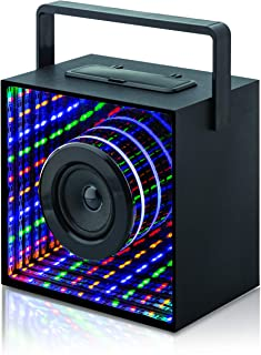 Infi-Max Wireless Speaker with Multi Colored LED Lights Music Audio FM Radio Portable Design with Handle Bluetooth Connectability Micro SD Slot Built in USB Perfect for Dorm, Office & Home (Singular)