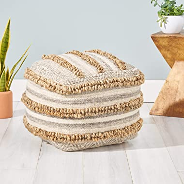 Great Deal Furniture Gladys Contemporary Hemp, Wool and Cotton Pouf Ottoman, Natural and Gray