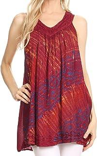 Sakkas Lea V-Neck Crinkle Sleeveless Embroidered Tank top