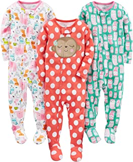 Baby and Toddler Girls' 3-Pack Snug Fit Footed Cotton Pajamas