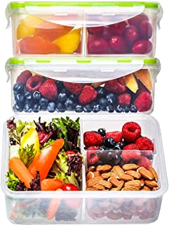 Bento Box Lunch Containers (3 Pack, 39 Ounces) - Bento Boxes for Adults, Lunch Boxes for Kids, 3 Compartment Food Containers with Lids, Bento Lunch Box, BPA FREE, Leakproof