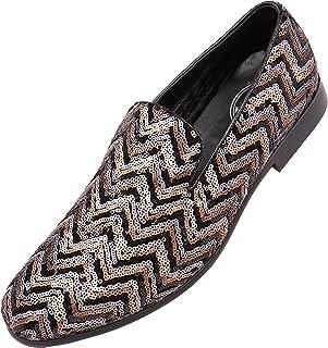 Amali Men s Sequin Chevron Patterned Smoking Slipper Slip On Dress Shoe   Style Chevy Gold a2e4a91acaa0
