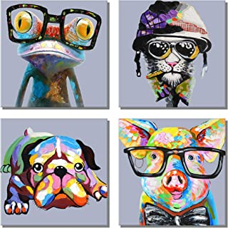 789Art - Animal Picture Cool Wall Art Lazy Dog Happy Frog Pig Glasses Artwork Cartoon Images Canvas Oil Painting for Kids Room Office Home Decor(12