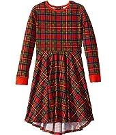 Tartan Long Sleeve Waisted Dress (Toddler/Little Kids/Big Kids)