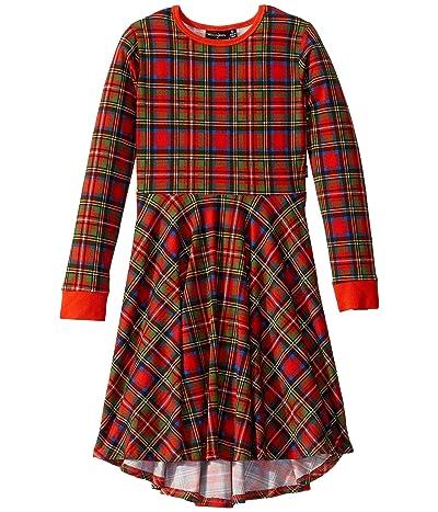 Rock Your Baby Tartan Long Sleeve Waisted Dress (Toddler/Little Kids/Big Kids) (Red) Girl