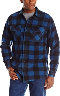 Authentics Men's Long Sleeve Plaid Fleece Shirt, Blue Buffalo, Large
