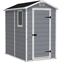 Keter Manor Large 4 x 6 ft. Resin Outdoor Backyard Garden Storage Shed (Grey)