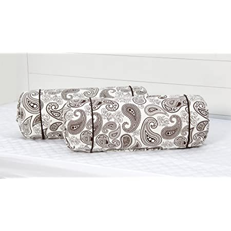 "AURAVE Cotton 144 TC Bolster Cover (15""x30""_Brown)"