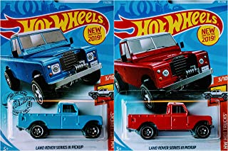 Hot Wheels Land Rover Series III Pickup Blue and Red 111/250 2 Truck Set Bundle