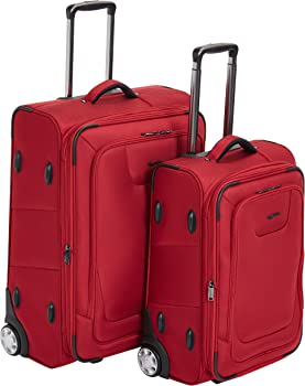 2-Piece AmazonBasics Premium Upright Expandable Softside Suitcase Set