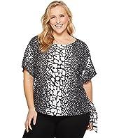 MICHAEL Michael Kors Plus Size Croc Print Tie Top