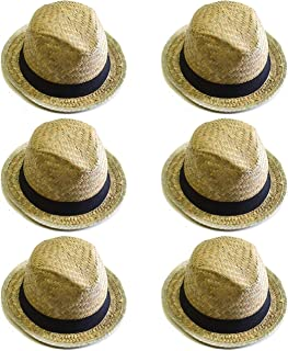 Bottles N Bags Fedora Straw Hat with Black Fabric Band by